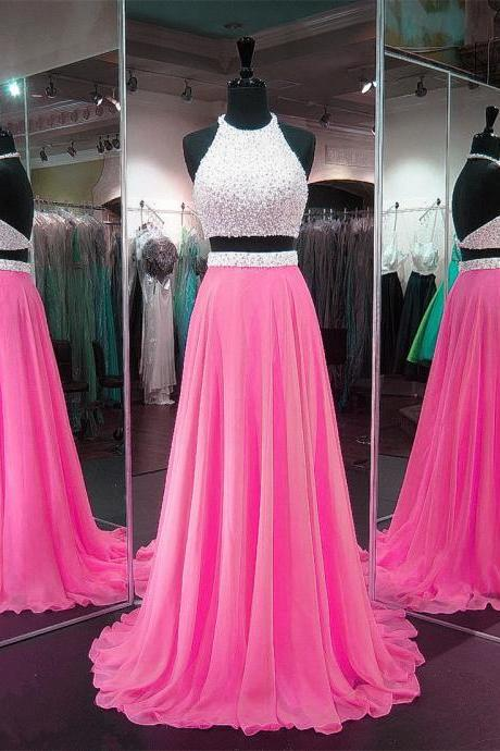 Cheap prom dresses 2017, Charming Prom Dress,Sexy Prom Dresses, Backless Two Piece Prom Dresses,Long Evening Dress,Sleeveless Prom Party Dress