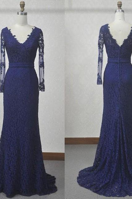 Cheap prom dresses 2017,Long Sleeves Lace Prom Dress,Royal Blue Lace Graduation Dress,Mermaid Lace Formal Dresses,Long Sleeves Blue Evening Dress,Sheath V-neckline Lace Party Dress