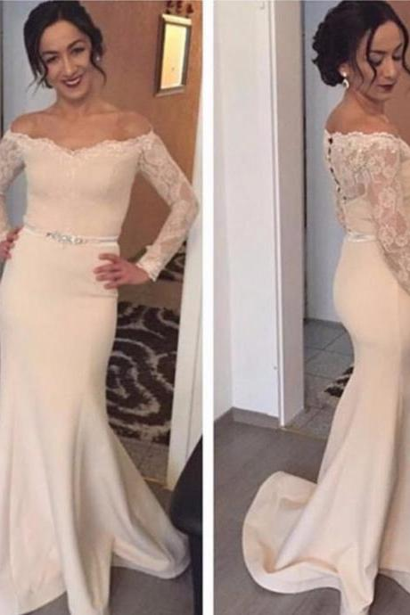 Cheap prom dresses 2017,2017 Long Large size Prom Dress Lace Sweep/Brush Train Off-the-Shoulder Full sleeve Satin Mermaid Outlet