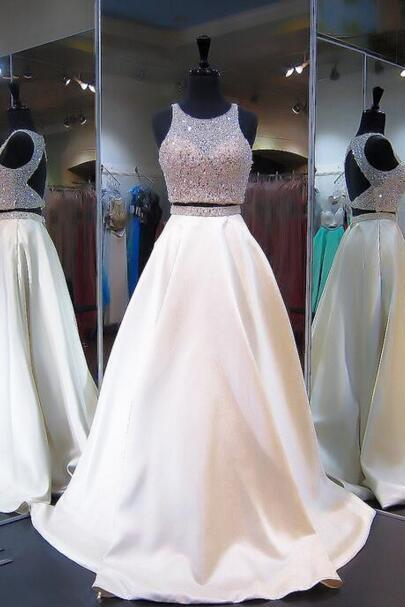 Cheap prom dresses 2017,Elegant Two Pieces Beaded Prom Dress,Ivory Long Prom Dress,Open Back Two-Piece Prom Dress