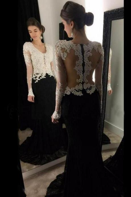 Illusion Lace Back Prom Dresses, 2017 Modest Black Prom Dress, Long Mermaid Party Dress, Spring 2017 Long Sleeve Prom Dress, Scoop Neck Vintage Party Dress,Formal Dresses Evening Gowns, Plus Size Prom Dresses, Vintage Black Lace Party Dresses With Long Sleeve