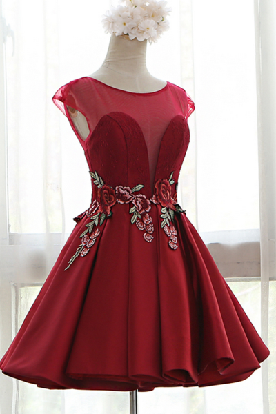 Cheap homecoming dresses 2017,Red Sweetheart Illusion Cap Sleeves Floral Embroidery A-Line Pleated Dress with Open Back and Lace-up Detailing