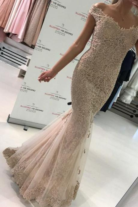 Cheap prom dresses 2017,Top Quality Lace Mermaid Evening Dress Off Shoulder Elegant Formal Gowns with Short Sleeves Glitter Prom Dress Women Evening Wear