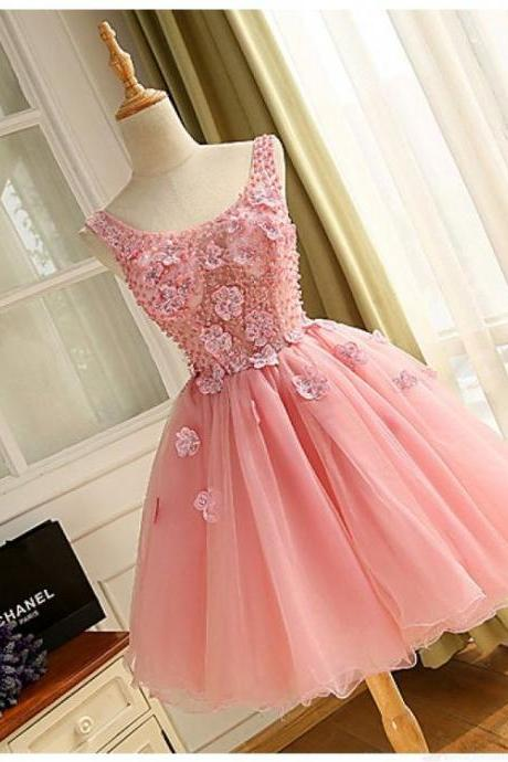 Cheap homecoming dresses 2017,Pink V-neck Beading Applique Homecoming Dresses Cocktail Dresses