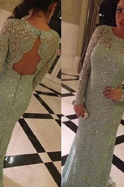 Cheap prom dresses 2017,Sexy Prom Dresses, Full Sleeves Floor-length Evening Dress,Simple A-line O-neck Lace Long Prom Dresses With Sequined