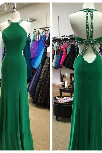 Cheap prom dresses 2017,Halter Prom Dress,Backless Prom Dress,Beaded Prom Dress,Fashion Prom Dress,Sexy Party Dress, New Style Evening Dress