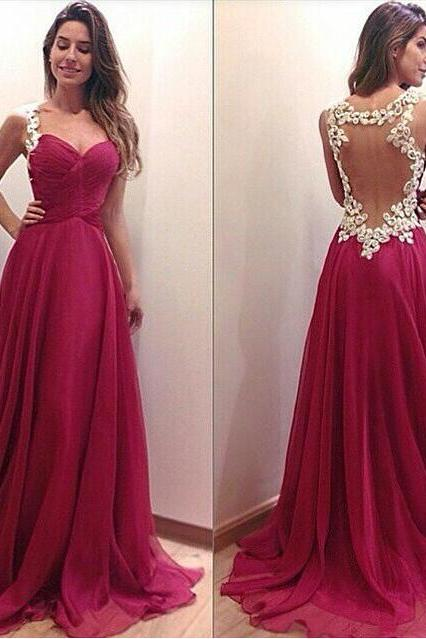 Cheap prom dresses 2017,Appliques Prom Dress,A-Line Prom Dress,Backless Prom Dress,Fashion Prom Dress,Sexy Party Dress, 2017 Evening Dress