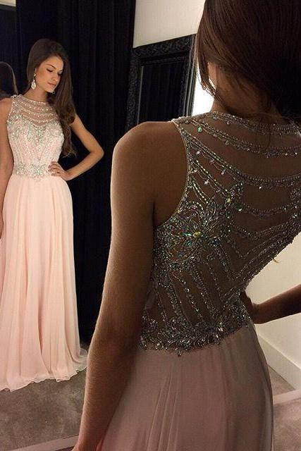Cheap prom dresses 2017,Beaded Prom Dress,A-Line Prom Dress,Pink Prom Dress,Fashion Prom Dress,Cheap Party Dress, 2017 Evening Dress