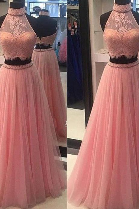 Cheap prom dresses 2017,Two Piece Prom Dresses, Lace Prom Dresses, Pink Prom Dress, Fashion Prom Dress, Pink Evening Dresses, Lace Prom Dress, High Neck Evening Dress, Sexy Evening Gowns, Custom Make Evening Dress