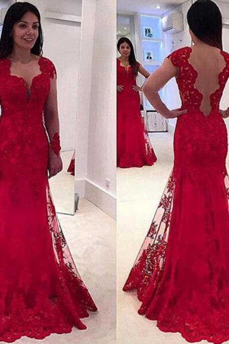 Cheap prom dresses 2017,Red Evening Dress, Lace Applique Evening Dress, Long Evening Dress, Cap Sleeve Evening Dress, Elegant Evening Dress, Evening Dresses 2017, Formal Dresses Cheap