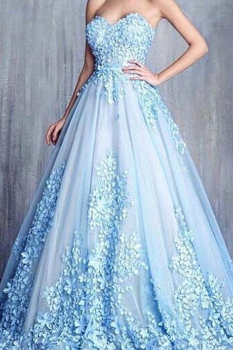 Cheap prom dresses 2017,Handmade Flower A Line Blue Long Prom Dresses Cheap Elegant Prom Dress Sweetheart Neck Women Formal Gowns 2017