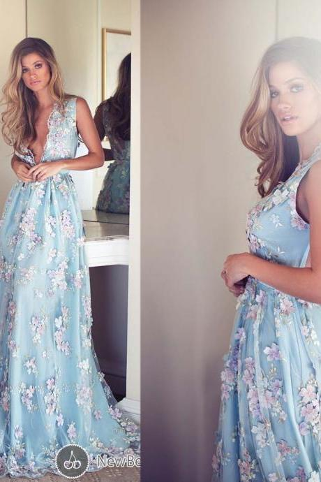 Cheap prom dresses 2017,Deep V Neck Prom Dresses, Hand Made Flowers Prom Gowns, Lace Evening Dresses, Light Sky Blue Evening Gowns, Tulle Evening Dress, New Arrival Party Dresses, A Line Evening Gowns