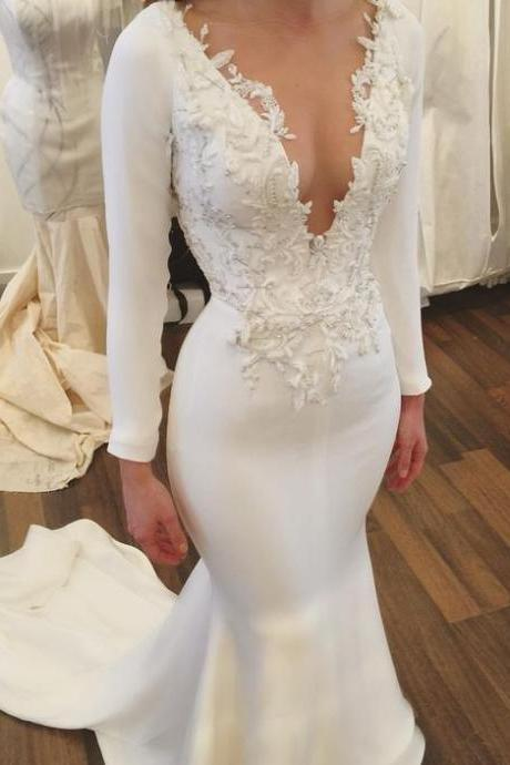Cheap wedding dresses 2017,Mermaid Wedding Dresses,Long Sleeves Wedding Dresses,Lace Wedding Dresses,Wedding Dresses