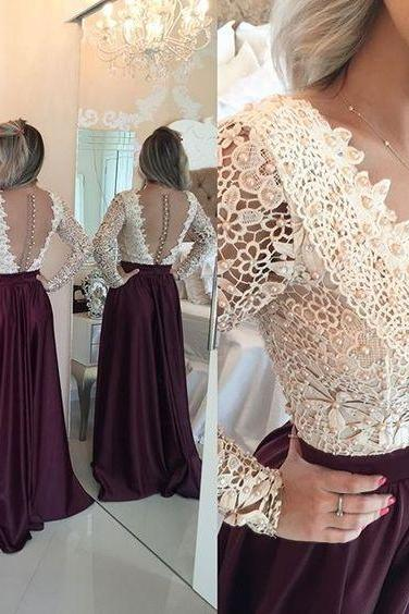 Custom Made White V- Neckline Open Back Lace Long Sleeve A-Line Bridesmaid Dress with Buttoned Back and Pearl Embellishment, Prom Dress
