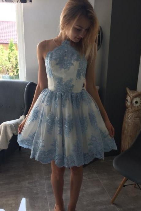 Cheap prom dresses 2017,Princess Round Neck Homecoming Dresses,Short Blue Lace Appliques Homecoming Dress