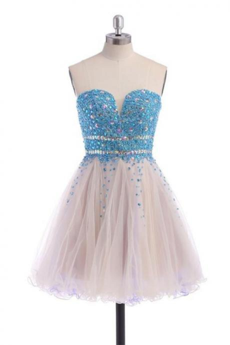 Cheap homecoming dresses 2017,Elegant Beading Strapless Homecoming Dresses Cocktail Dresses Graduation Dresses