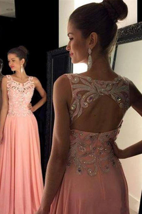 Cheap prom dresses 2017,Square Neck Pink Long Prom Dress with Key Hole Back, Chiffon Prom Dress with Lace Appliques and Beads, Elegant Prom Dress with Sweep Train,