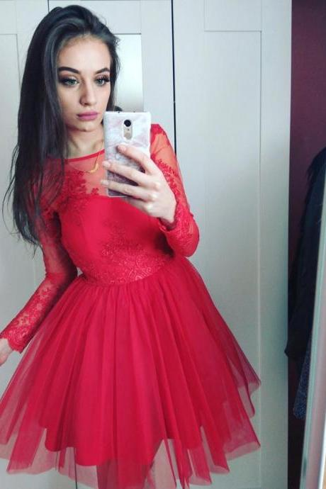 Cheap homecoming dresses 2017,Long Lace Sleeves Prom Dresses Red Tulle Short Prom Dress with
