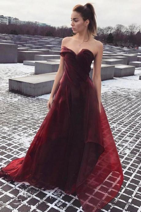 Cheap prom dresses 2017,prom Dresses,A-Line Sweetheart Sweep Train Burgundy Chiffon Prom Dress with Ruched