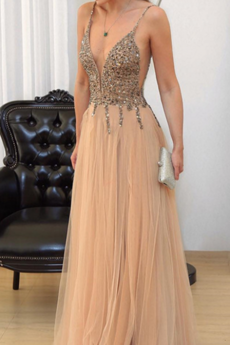 Cheap prom dresses 2017,Champagne Prom Dress, V-neck Evening Gowns,Tulle Prom Dresses,Sequins Beaded Prom Gowns,Prom Dresses,