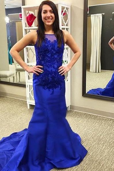 Cheap prom dresses 2017,2017 Long Plus Size Prom Dress Applique Sweep/Brush Train Bateau Sleeveless Satin Mermaid Customized