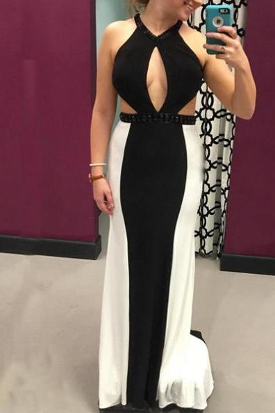 Cheap prom dresses 2017,2017 Long Plus Size Prom Dress Backless Floor-length Halter Sleeveless Stretch Satin Sheath Customized