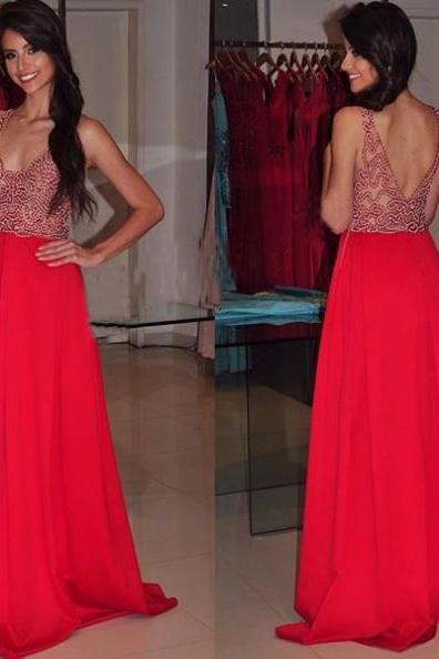 Cheap prom dresses 2017,2017 Long Plus Size Prom Dress Backless Beading Floor-length V-Neck Sleeveless Chiffon A-line Hot Sale