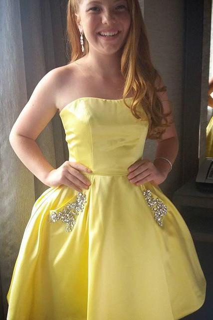Cheap homecoming dresses 2017,Yellow Homecoming Dress, Short Homecoming Dress, Homecoming Dress with Pockets