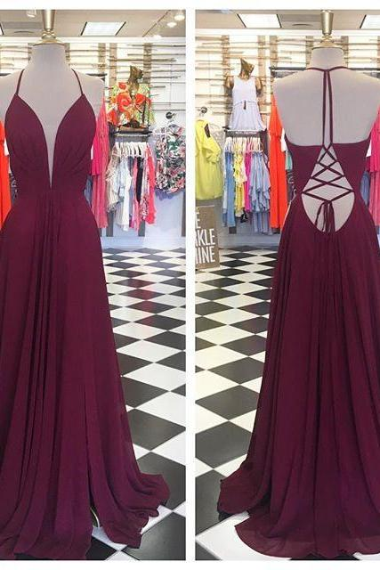 Cheap prom dresses 2017,Simple A-line Burgundy Long Prom Dress Evening Dress