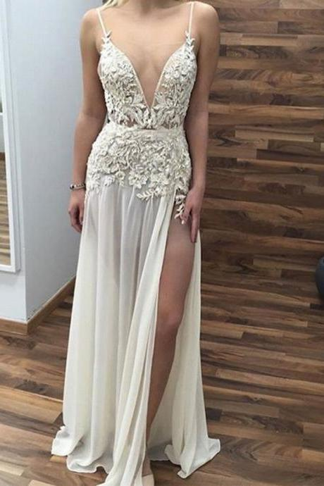 Cheap prom dresses 2017,Sleeveless Evening Dress,Formal Women Dress,Sexy Prom Dress, Appliques V Neck Prom Dress,Long Prom Dresses with Side Slit,
