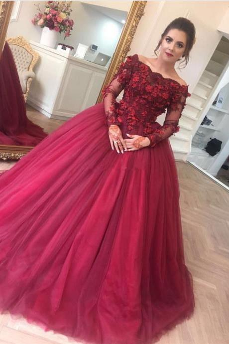 Cheap prom dresses 2017,long sleeves prom dress,ball gowns prom dress,burgundy wedding dress 2017