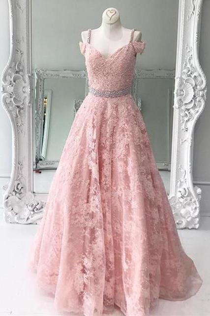 Cheap prom dresses 2017,pink prom dress, lace prom dress,long evening gowns,elegant formal dresses