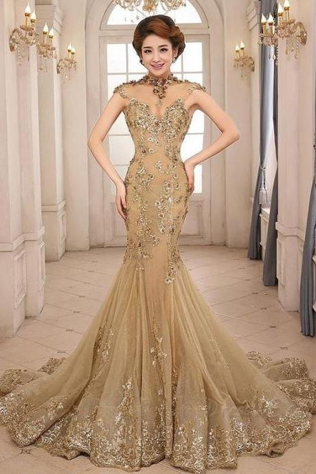 Cheap prom dresses 2017,Gorgeous High Neck Prom Dress,Appliques Backless Prom Dresses,Gold Mermaid Evening Gown/Mother of the Bride Dress