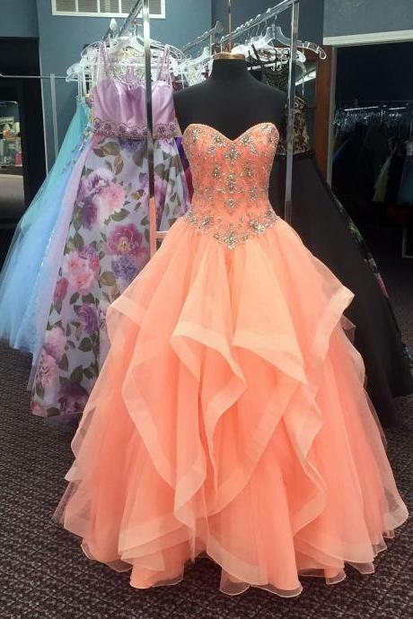 Cheap prom dresses 2017,Orange Prom Dress, Beaded Prom Dress, Cheap Quinceanera Dresses, Elegant Prom Dress, A Line Prom Dress, Tulle Prom Dress, Elegant Prom Dress, Floor Length Prom Dress, Vestido De Festa De Longo, Sweetheart Prom Dress, Women Prom Gown