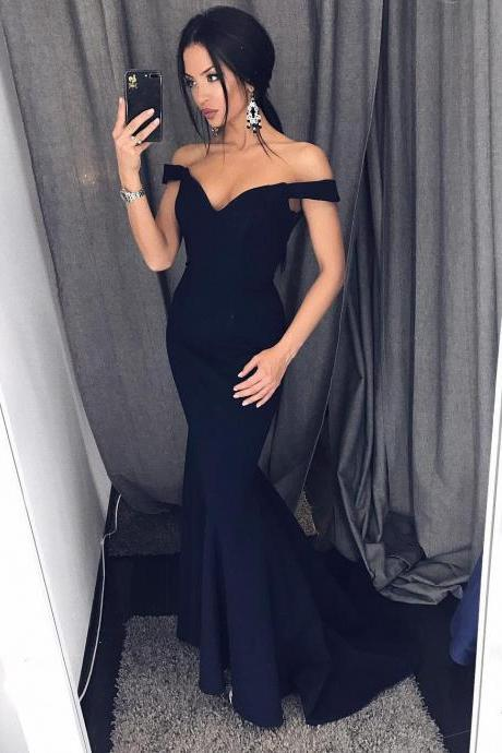 Cheap prom dresses 2017, Trumpet Skirt Off-Shoulder Prom Dress, Sweetheart Satin Maxi Gown