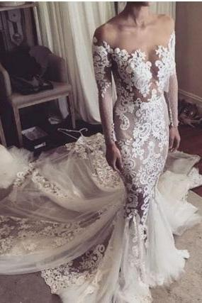 Cheap wedding dresses 2017,2017 Mermaid Wedding Dresses,Off-the-Shoulder Wedding Dresses,White Lace Wedding Dresses,Cheap Elegant Wedding Dresses,Long Sleeve Wedding Gowns,Wedding Dresses,