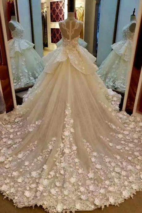 Cheap wedding dresses 2017,Lace Appliqued And Flowers Chapel Train Wedding Dresses,Pretty Bridal Gowns,Ivory Sleeveless Scoop Neckline Wedding Gown,Ball Gown Wedding Gowns,Wedding Dresses,