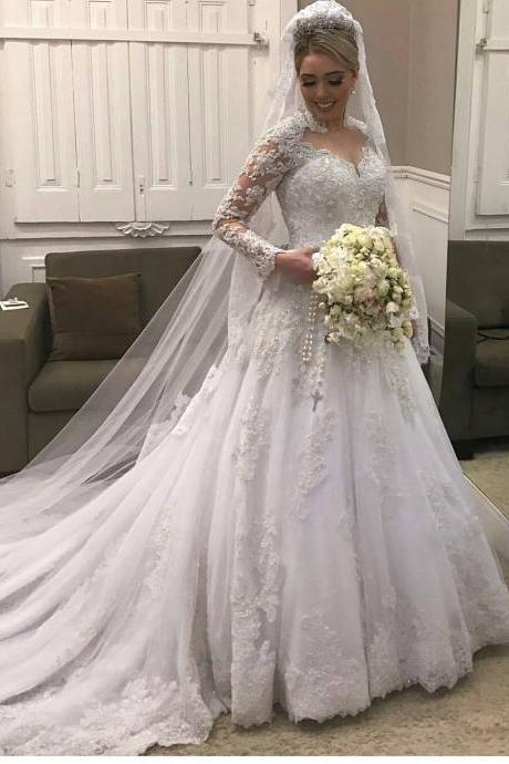 Cheap wedding dresses 2017,High Neck Lace Long Sleeves Wedding Dress ,Illusion Back Bridal Gown with Train
