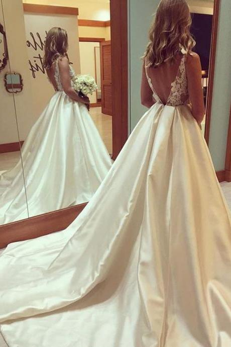Cheap wedding dresses 2017,Sexy Backless Satin Wedding Dress with Long Train