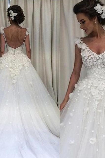 Cheap wedding dresses 2017,Wedding Dress With Flowers,Floral Wedding Dress,V-neck Backless Wedding Dresses,A Line Sleeveless Wedding Dress,Elegant Wedding Dress,2017 Wedding Dress,V Neck Bridal Dresses