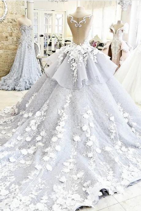 Cheap wedding dresses 2017,Gorgeous Wedding Dress,Floral Bridal Dress,Fashion See-through Bridal Dress,Backless Wedding Dress,Sexy Sheer Party Dress,New Style Evening Dress,Wedding dresses With Court Train,