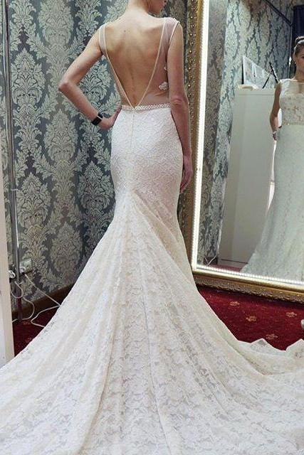 Cheap wedding dresses 2017,Mermaid Long White Lace Wedding Dress with Backless