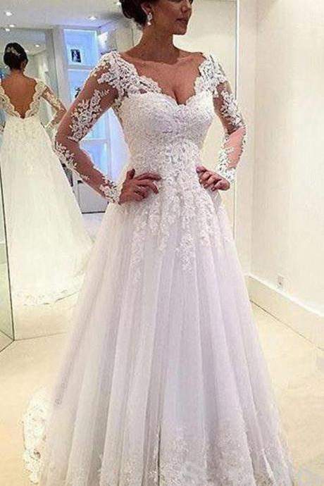 Cheap wedding dresses 2017,Sexy Charming V Neck Wedding Dress, Open Back Floor Length Bridal Gowns, Long Sleeves Lace Wedding Dresses