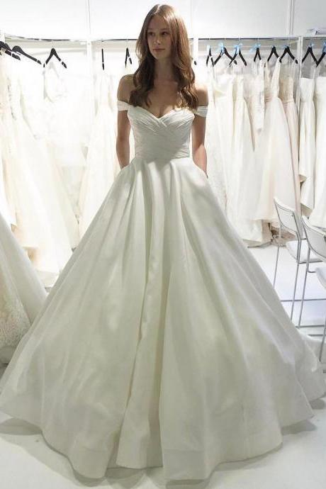 Simple Off-the-Shoulder Ruched Ball Gown Wedding Dress