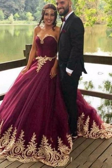 Cheap wedding dresses 2017,Princess Ball Gown Evening Dresses,Purple Prom Dresses, Gold Appliques Wedding Dresses, Vintage Purple Evening Dresses, Formal Evening Dresses, Wedding Bridal Dress