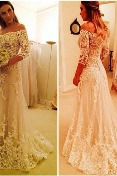 Cheap wedding dresses 2017,Lace Wedding Dress, Elegant Wedding Dress, Long Sleeve Wedding Dress, A Line Wedding Dress, Cheap Bridal Dresses, Champagne Wedding Dress, Wedding Dresses 2017, Off the Shoulder Wedding Dress, Bridal Dresses For Women