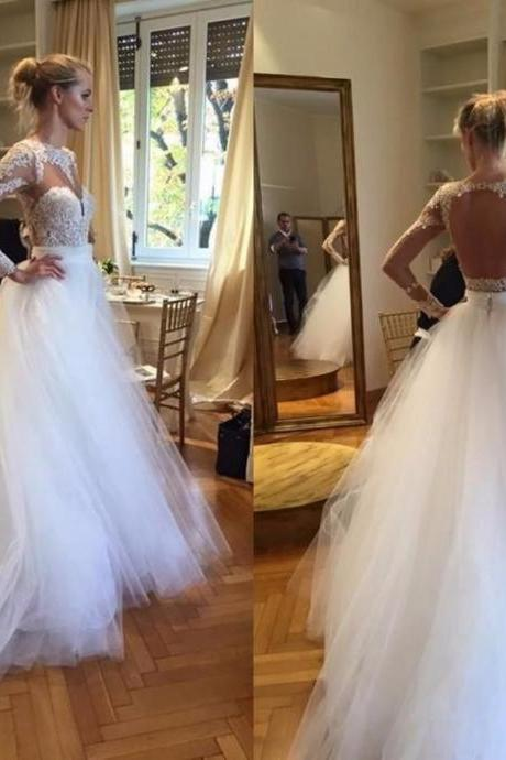 Cheap wedding dresses 2017,Sheer O Neck Long Lace Sleeves Wedding Dress Backless with Detachable Tulle Skirt Bride Gowns 2017 Vestido De Noiva