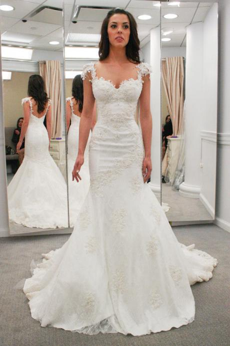 Lace Appliques Sweetheart Cap Sleeves Floor Length Mermaid Wedding Dress Featuring Low Back and Train