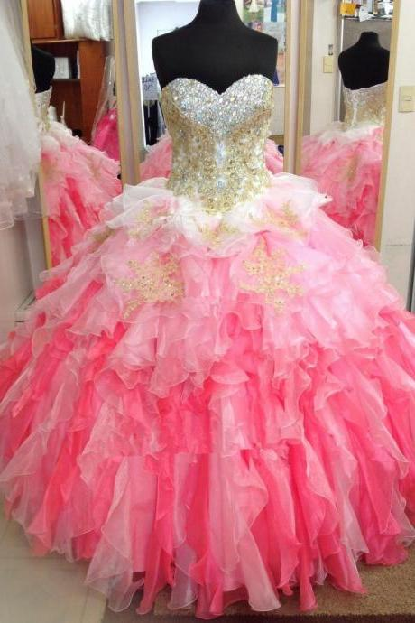 Cheap prom dresses 2017,Beautiful Multi-Color Quinceanera Dresses Sweetheart Ruffle Gold Applique Lace Formal Prom Wedding Ball Gowns