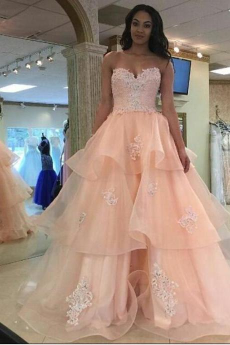 Cheap prom dresses 2017,Prom Dresses,Evening Dress,Party Dresses,Pretty Pink Lace Prom Dresses,Girly Prom Gowns,Quinceanera Dresses,Prom Dresses For Teens,Long Prom Dress,Party Dresses